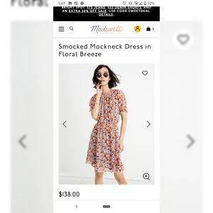 Madewell Smockneck Mockneck Dress in Floral Breeze